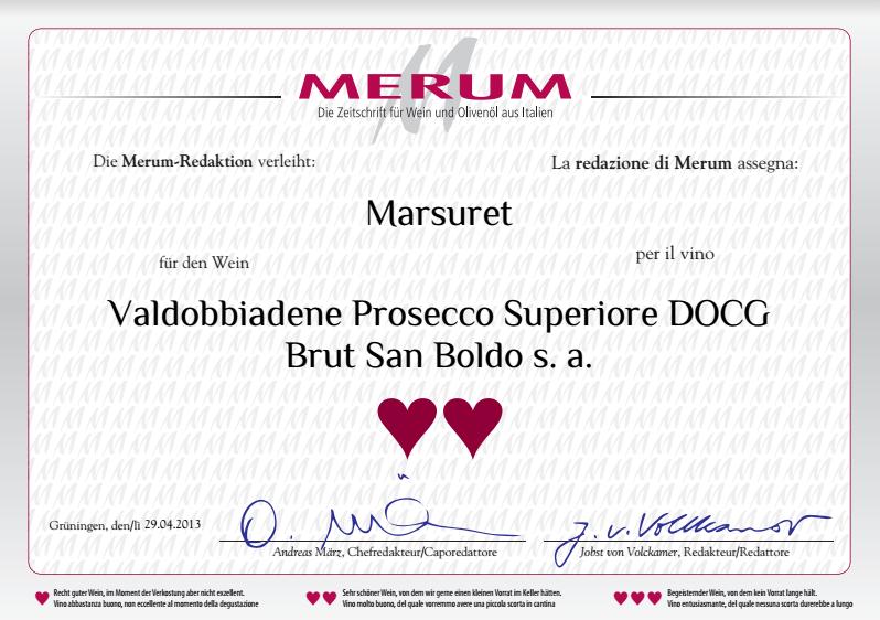 Nagroda dla wina Marsuret - Prosecco Brut 'San Boldo'